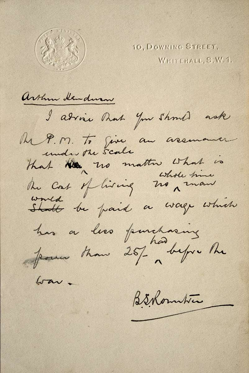 Letter written by Seebohm Rowntree in 1916 urging the PM to observe the Fair Wage