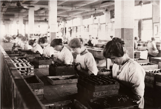 Black and white image of women workers on a chocolate production line in the Rowntree factory, 1920