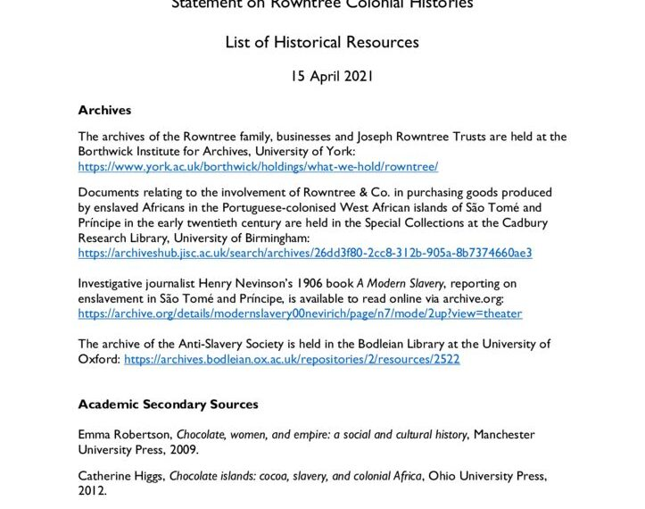thumbnail of Colonial Histories – List of Resources