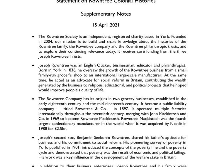 thumbnail of Colonial Histories Statement – Supplementary Notes