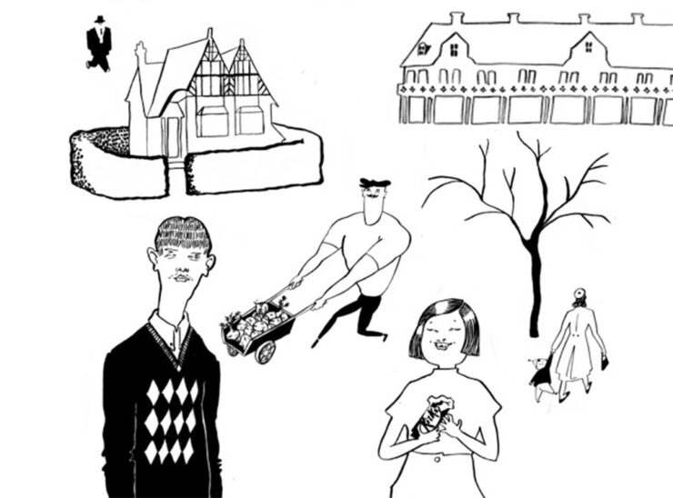 A group of black-and-white line illustrations of a house in New Earswick in York, a woman holding a toddler's hand near a tree, a boy in an argyle sweater, and a young girl with a bob eating a Kit Kat.