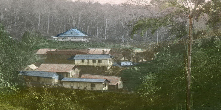 View of a collection of buildings in a valley surrounded by trees and lush vegetation.
